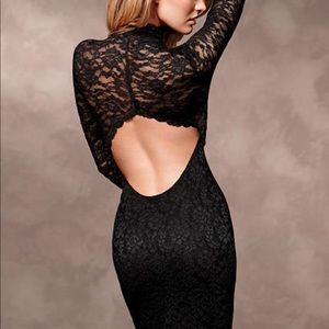 Black Long Sleeve High Neck Lace Dress 🖤✨